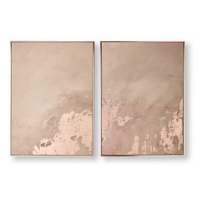 Rose Gold Serenity Framed Canvas Wall Art Set of 2 - Home Depot