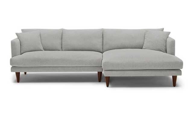 Gray Lewis Mid Century Modern Sectional - Sunbrella Premier Fog - Mocha - Right - Cone Legs - Joybird