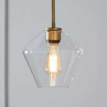 Sculptural Glass Shade, Small Geo, Clear - West Elm