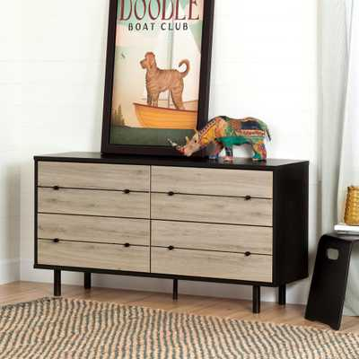 Morice 4-Drawer Ebony and Rustic Oak Dresser - Home Depot