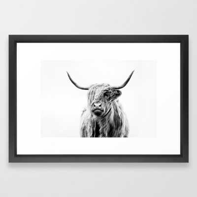portrait of a highland cow (horizontal by request) Framed Art Print by Doritfuhg_SMALL - Society6
