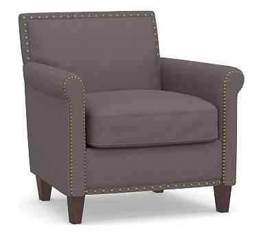 SoMa Roscoe Upholstered Tufted Armchair, Polyester Wrapped Cushions, Washed Canvas Graphite - Pottery Barn