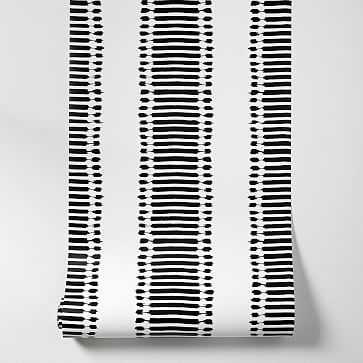 "Ikat Stripes Wallpaper, Black/White, 20.5""w x 33'h - West Elm"