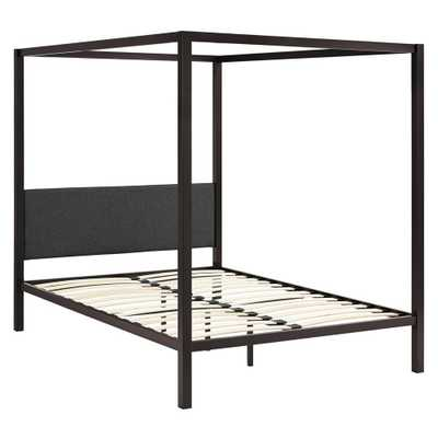 Raina Brown Gray Queen Canopy Bed Frame - Home Depot