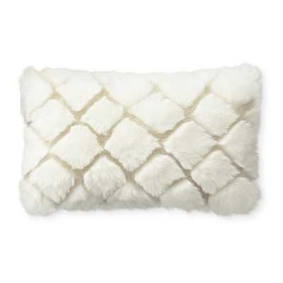 "Faux Fur Pillow Cover, 14"" X 22"", Ivory Diamond Wolf - Williams Sonoma"