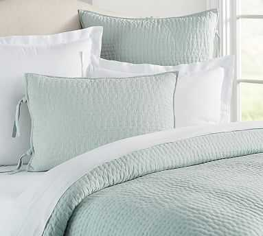 Pick-Stitch Handcrafted Quilt, Twin, Porcelain Blue - Pottery Barn