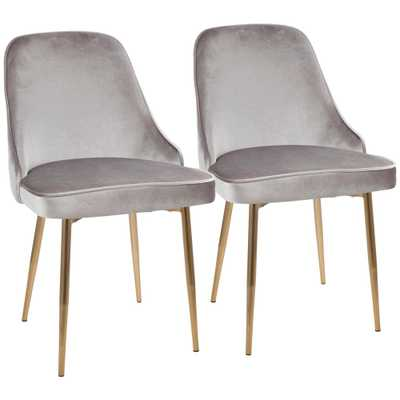 Gold and Silver Marcel Velvet Dining Chair (Set of 2), Silver/Gold - Home Depot
