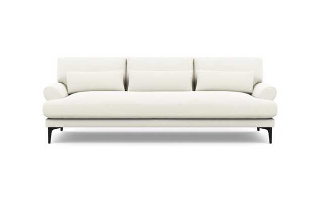 Maxwell Sofa with White Ivory Fabric and Matte Black legs - Interior Define