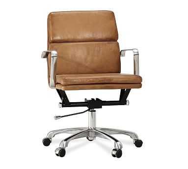 Nash Swivel Desk Chair, Leather Caramel - Pottery Barn