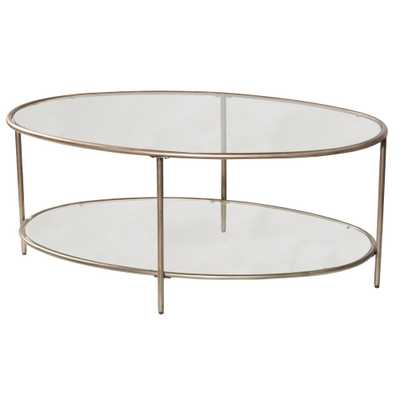 Corbin Silver with Black Rub Coffee Table with 2-Glass Shelves - Home Depot