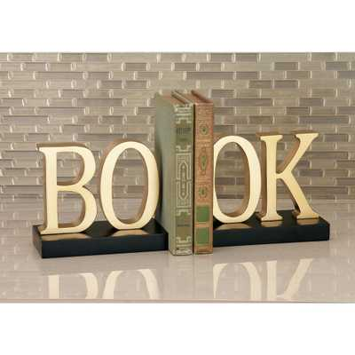 7 in. x 6 in. BO-OK Wooden Bookends, Black - Home Depot