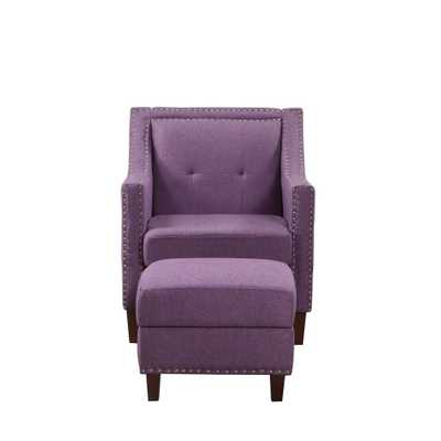 Nathaniel Home Purple Accent Chair with Storage Ottoman - Home Depot