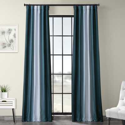 Exclusive Fabrics & Furnishings Parallel Teal Blue Printed Linen Textured Blackout Curtain - 50 in. W x 84 in. L (1-Panel) - Home Depot