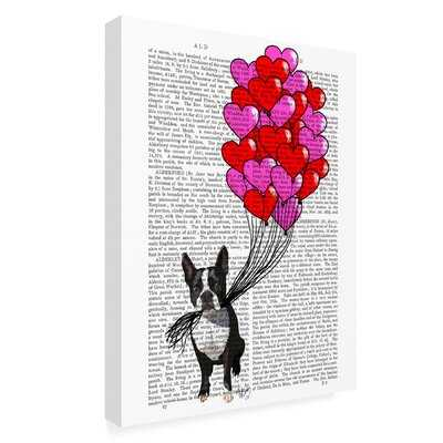 'Boston Terrier and Balloons' Graphic Art Print on Wrapped Canvas - Wayfair