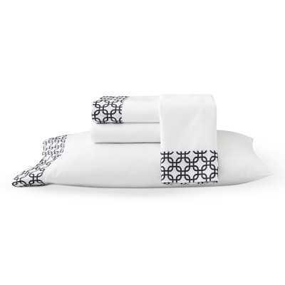 Interlocking Squares Printed Cuff Sheeting, Sheet Set, King, Navy - Williams Sonoma