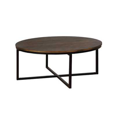 Arcadia Antiqued Mocha Acacia Wood 42 in. Round Coffee Table - Home Depot