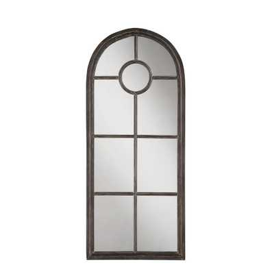 Arched Distressed Black Metal Decorative Wall Mirror - Home Depot