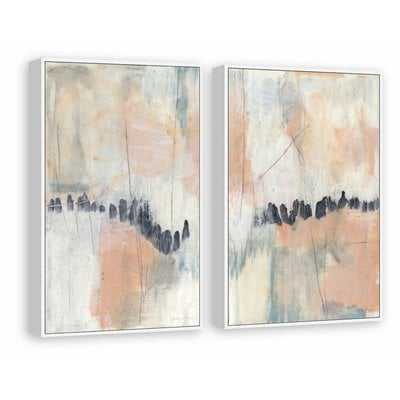 'Blush and Navy' 2 Piece Acrylic Painting Print Set on Canvas - Wayfair