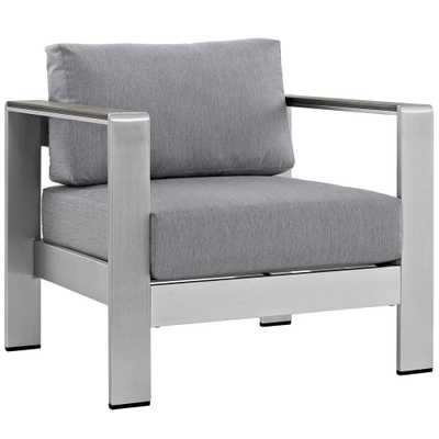 MODWAY Shore Patio Aluminum Outdoor Lounge Chair in Silver with Gray Cushions - Home Depot
