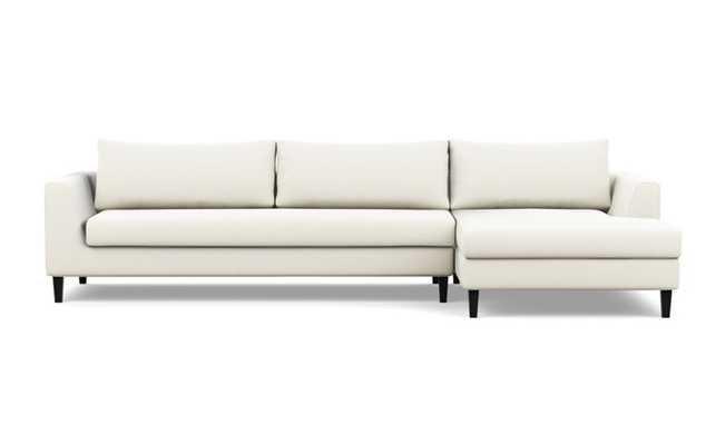 Asher Right Sectional with White Ivory Fabric, extended chaise, and Painted Black legs - Interior Define