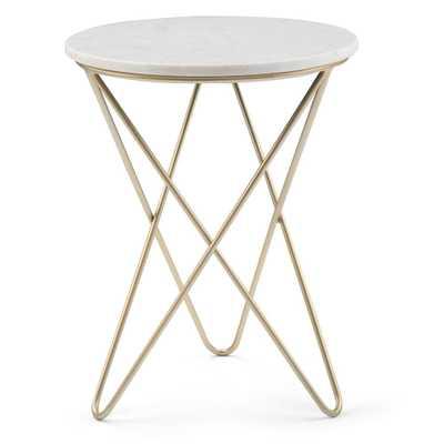 Simpli Home Gabon White and Gold Accent Table - Home Depot