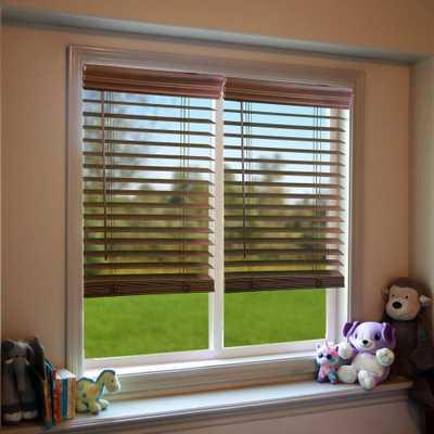 Perfect Lift Window Treatment Dark Oak 2 in. Cordless Faux Wood Blind - 50 in. W x 72 in. L - Home Depot