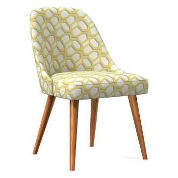 Midcentury Upholstered Dining Chair, Wood Leg, Yellow Stone, Modern Caning, Pecan - West Elm
