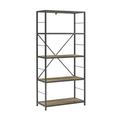 63 Rustic Metal and Wood Media Bookshelf Rustic Oak - Saracina Home - Target