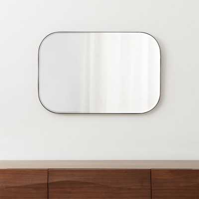 Edge Gunmetal Rounded Rectangle Mirror - Crate and Barrel