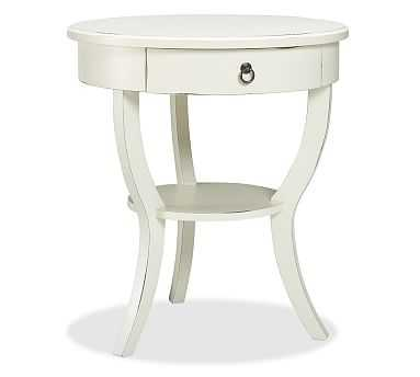 Carrie Pedestal Bedside Table, Almond White - Pottery Barn