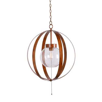 Kenroy Home Olivia Large 1-Light Faux Wood Hanging Outdoor Swag Pendant - Home Depot