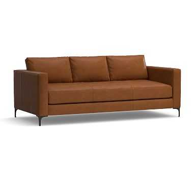 "Jake Leather Sofa 85"", Down Blend Wrapped Cushions, Leather Signature Maple - Pottery Barn"
