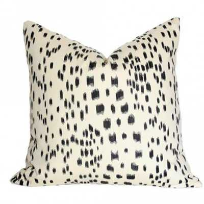 Les Touches Black - 22x22 pillow cover / pattern on front, solid on back - Arianna Belle