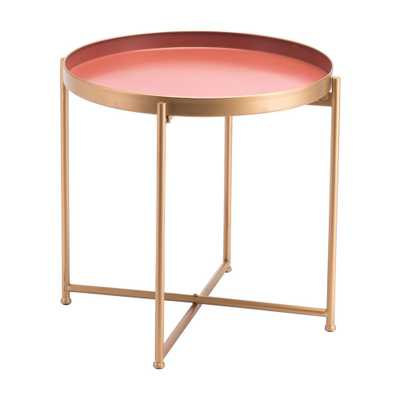 Red Pink Short End Table - Home Depot