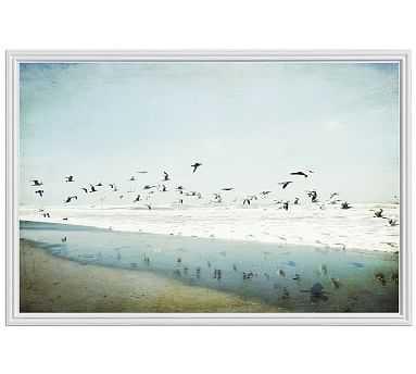 "Birds Reflected Framed Print by Lupen Grainne, 28x42"", Ridged Distressed Frame, White, No Mat - Pottery Barn"