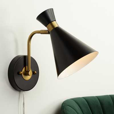 Venice Matte Black Down Cone Pin-up Wall Lamp - Style # 55K59 - Lamps Plus
