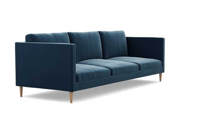 Oliver Sofa with Blue Sapphire Fabric and Natural Oak legs - Interior Define