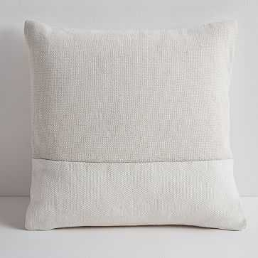 "Cotton Canvas Pillow Cover, 18"" sq, Stone White - West Elm"