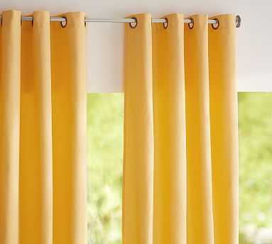 """Sunbrella(R) Solid Indoor/Outdoor Grommet Drape, 50 x 96"""", Buttercup - Pottery Barn"""