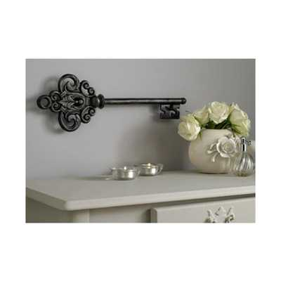 "17 in. x 6 in. ""Castle Key"" by Graham and Brown Metal Wall Art, Black - Home Depot"