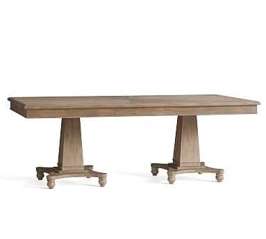Roma Fixed Dining Table, Weathered Elm - Pottery Barn