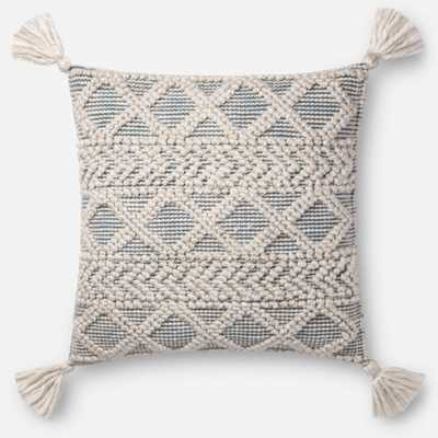 "PILLOWS - IVORY / BLUE, 22"" with Poly Insert - Loma Threads"