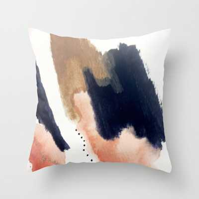 """Drift Away [2] - a mixed media abstract piece in pink, brown, and purple Throw Pillow - Indoor Cover (24"""" x 24"""") with pillow insert by - Society6"""