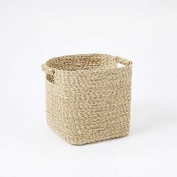 Metallic Woven Storage Basket, Gold, Square - West Elm