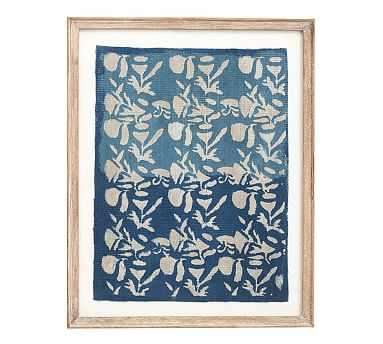 Framed Blue Textile Art, Floral Pattern - Pottery Barn
