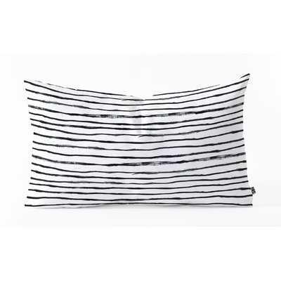 Dash and Ash Painted Stripes Oblong Indoor/Outdoor Lumbar Pillow - Wayfair