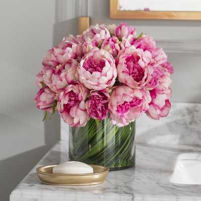 Faux Magenta & Pink Peony Floral Arrangement in Glass Vase - Birch Lane