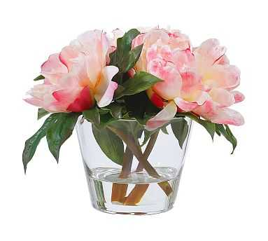 Faux Peonies In Round Glass Vase - Pottery Barn