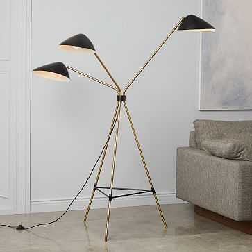Curvilinear Mid-Century Floor Lamp, 3 Lighting, Black/Brass - West Elm