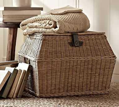 Jacquelyne Rattan Angled Lidded Basket, Large - Pottery Barn